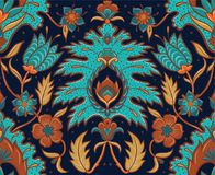Boho Seamless Floral Tile - Turquoise and Ochre. Decorative bohemian fantasy floral hand drawn seamless pattern with intricate mandala and paisley designs stock illustration