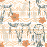 Boho seamless pattern with dreamcatchers and arrows Stock Photography
