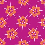 Boho Star Flower Blooms All Over Print Vector. Colorful Floral Seamless Repeating Pattern. Feminine Background. Hand Drawn Fashion Prints, Wallpaper, Girly stock illustration
