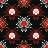 Boho Star Flower Blooms All Over Print Vector. Colorful Floral Seamless Repeating Pattern. Dark Black Red Folk Background. Hand Drawn Fashion Prints, Wallpaper royalty free illustration