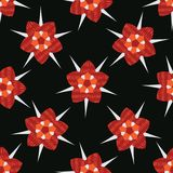Boho Star Flower Blooms All Over Print Vector. Colorful Floral. Seamless Repeating Pattern. Dark Black Red Folk Background. Hand Drawn Fashion Prints, Wallpaper stock illustration