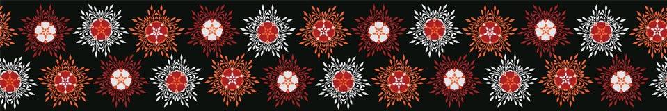 Boho Star Flower Blooms Vector Stripes Border Banner. Folklore Seamless Repeating Ribbon. Hipster Black Background. Striped for Trendy Fashion Trim, Ethnic stock illustration