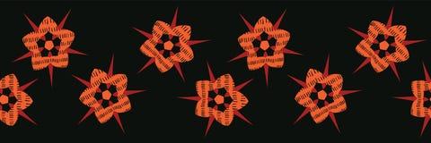 Boho Star Flower Blooms Vector Stripes Border Banner. Folklore Seamless. Repeating Ribbon. Hipster Black Background. Striped for Trendy Fashion Trim, Ethnic vector illustration