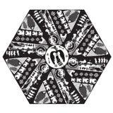 Boho stilvektor Vektor etniska stam- Mandala With Mythical Animals Svart Mandala Geometric Round Ornament Ethnic motiv stock illustrationer