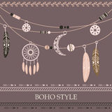 Boho style background with arrows, beads, dreamcatcher, feathers Stock Images