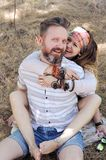 Boho style beautiful joyful couple, indie style, hipster outfit, bohemian outfit, woman embracing man. Boho style beautiful joyful couple, indie style, hipster stock images