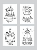 Boho style cards with wigwam or teepee. Royalty Free Stock Images