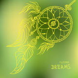 Boho style dreamcatcher on blurred background. Vector illustration Stock Photo