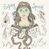 Boho Style Fashion Girl. Gipsy Spirit. Hand Sckeched Vector Illustration Stock Photo