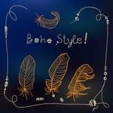 Boho style frame background. Vector illustration Stock Photos