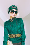 Boho style glamorous lady. Spring fashion accessories. Stock Image