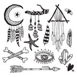 Boho style hand drawn elements. Boho chic, tribal, free spirit designs with feather and arrows. Vector objects set. Royalty Free Stock Image