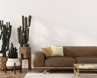 Free Boho-style Interior With Leather Sofa And Cacti Royalty Free Stock Images - 151783799