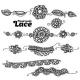 Boho style lace design element. Vector illustration lace. hand made vector lase Stock Photo