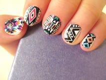 Boho style manicure stock photo