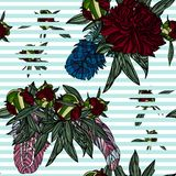 Seamless pattern with peony bouquet and feathers. vector illustration