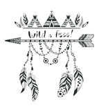 Boho Style for T-shirt and Decoration. Abstract Design with Bird Feather and Arrow . Ethnic Graphic with Slogan royalty free illustration