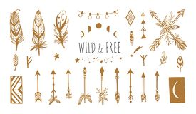 Boho style vector collection for tattoo, icon, flyers,cards with dreamcatcher ,feathers,moon,wild,arrow royalty free illustration