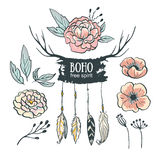 Boho style wedding invitation elements set. Vector illustration. Royalty Free Stock Photography