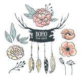 Boho style wedding invitation elements set. Vector illustration. Royalty Free Stock Photography