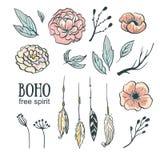 Boho style wedding invitation elements set. Vector illustration.Flowers, feathers and leaves Royalty Free Stock Photos