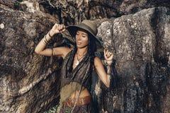 Boho style young woman outdoors portrait. Boho style young woman outdoors Stock Photo