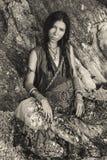Boho style young woman outdoors portrait. Boho style young woman outdoors Royalty Free Stock Photography