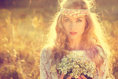 Boho Styled Bride on Nature Background Stock Image