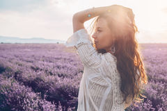 Free Boho Styled Model In Lavender Field Stock Image - 95616701