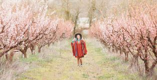 Boho stylu kobiety odprowadzenie w wiosna ogródzie Zdjęcie Royalty Free