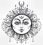 Boho Sun. Vintage vector decorative drawing. Stock Images