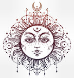 Boho Sun. Vintage vector decorative drawing. Stock Image