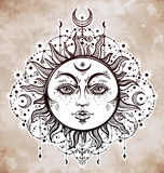 Boho Sun. Vintage vector decorative drawing. Royalty Free Stock Photography