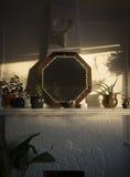 Boho Sunlit Mantle Stock Photography
