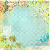 Boho Teatime Grunge Paper Background Blue Floral Royalty Free Stock Photography