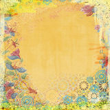 Boho Teatime Grunge Paper Background Orange Stock Photo