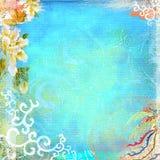 Boho Teatime Grunge Paper Background Turquoise Stock Photo