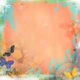 Boho-Teatime-Schmutz-Papier-Hintergrund Coral Butterfly Stockbild