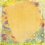 Boho-Teatime-Schmutz-Papier-Hintergrund-Orange Stockfoto