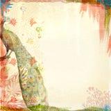 Boho-Teatime-Schmutz-Papier-Hintergrund Tan Red Peacock Lizenzfreies Stockfoto