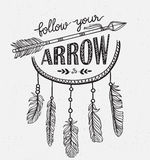 Boho template with inspirational quote lettering - Follow your arrow. Stock Image