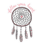 Boho template with inspirational quote lettering - `Follow your heart`. Vector, ethnic, print design with dreamcatcher. Stock Image