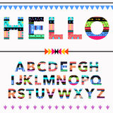 Boho tribal colorful ornament font. Vector illustration Royalty Free Stock Images
