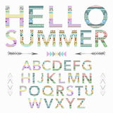 Boho tribal colorful ornament font. Vector illustration Stock Photo