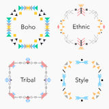Boho tribal ethnic colorful cards set. Vector illustration. Invitation, brochure, template Stock Image