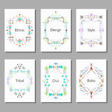 Boho tribal ethnic colorful cards set. Vector illustration. Invitation, brochure, template Royalty Free Stock Images