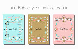 Boho tribal ethnic style cards and frames set. Vector illustration. Holiday, event, party, wedding invitation Royalty Free Stock Image