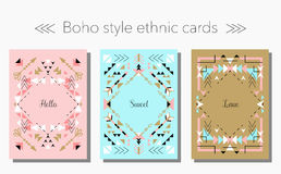 Boho tribal ethnic style cards and frames set. Vector illustration. Holiday, event, party, wedding invitation stock illustration