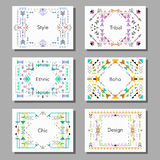 Boho tribal ethnic style cards and frames set. Vector illustration. Holiday, event, party, wedding invitation Stock Photos