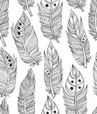 Boho tribal feather collection. Hand-drawn ornamental feather lineart collection. Vector black and white chic boho tribal illustration set Stock Photos
